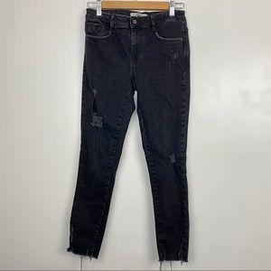 Zara Basic Black Distressed Jeans